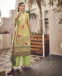 Printed Cotton Straight cut Salwar Kameez in Green