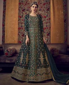 Stone Work Silk Abaya Style Salwar in Navy Blue