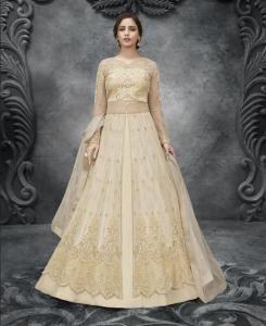 HandWorked Silk Abaya Style Salwar in Light Yellow