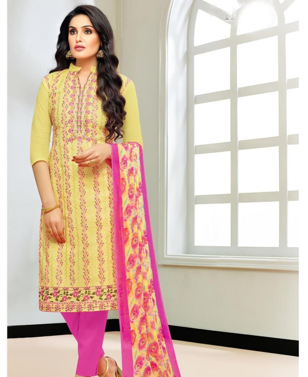 Embroidered Silk Yellow Straight Cut Salwar
