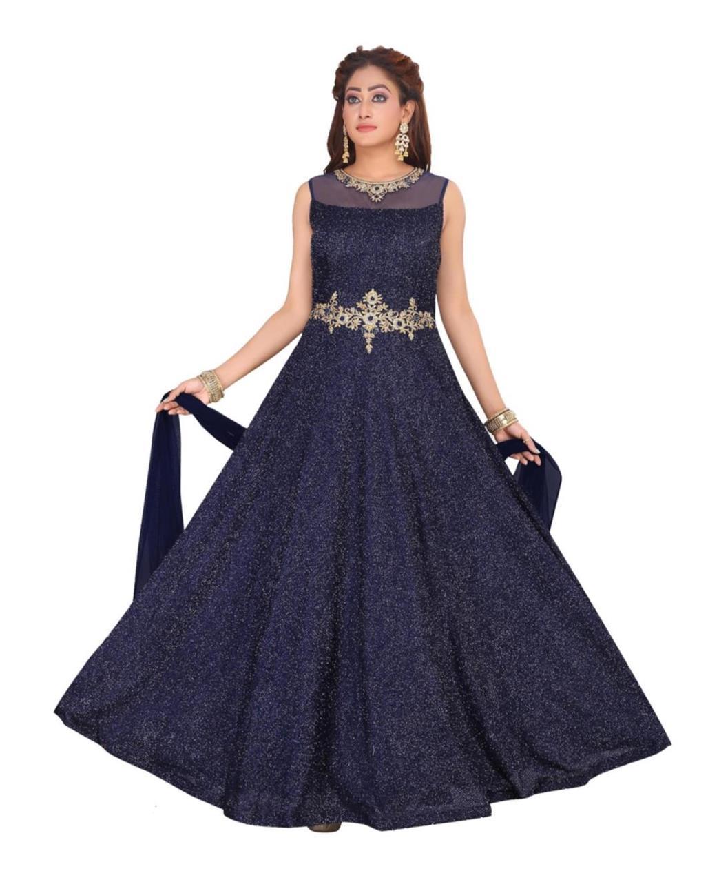 Silk Straight cut Salwar Kameez in Navy Blue