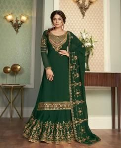 Resham Georgette Straight cut Salwar Kameez in Green