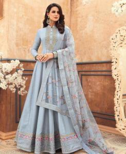 HandWorked Silk Abaya Style Salwar in Pastelblue