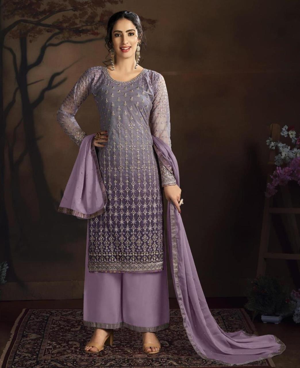 Stone Work Silk Straight cut Salwar Kameez in Purple