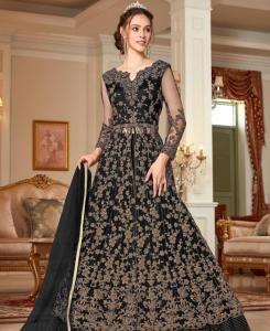 Sequins Net Abaya Style Salwar in Black