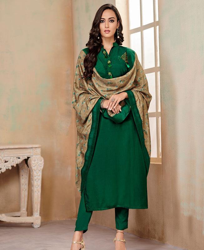 Butta Work Cotton Green Straight Cut Salwar