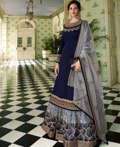 Thread Georgette Abaya Style Salwar in Nevy Blue
