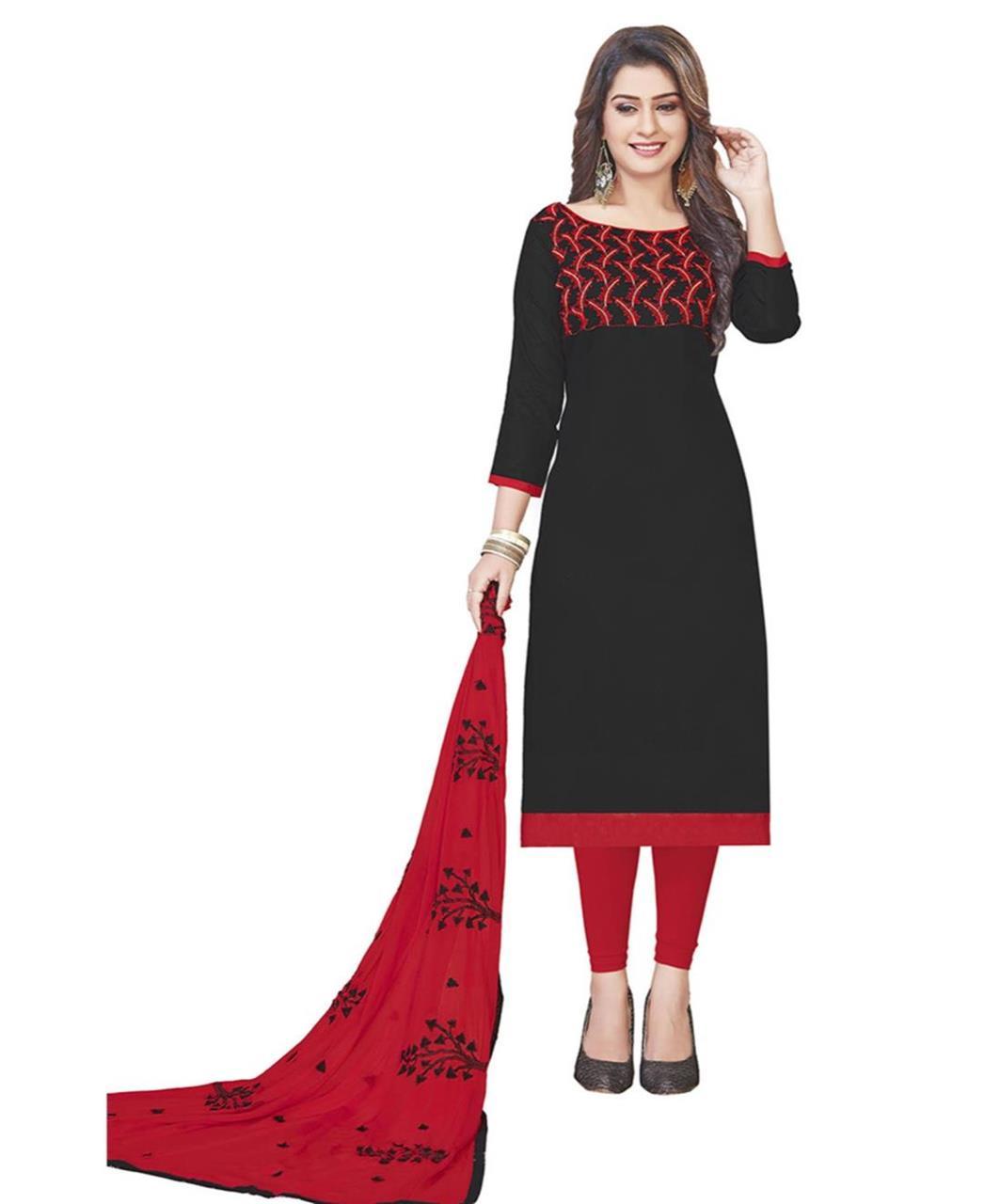 Embroidered Cotton Black Straight Cut Salwar
