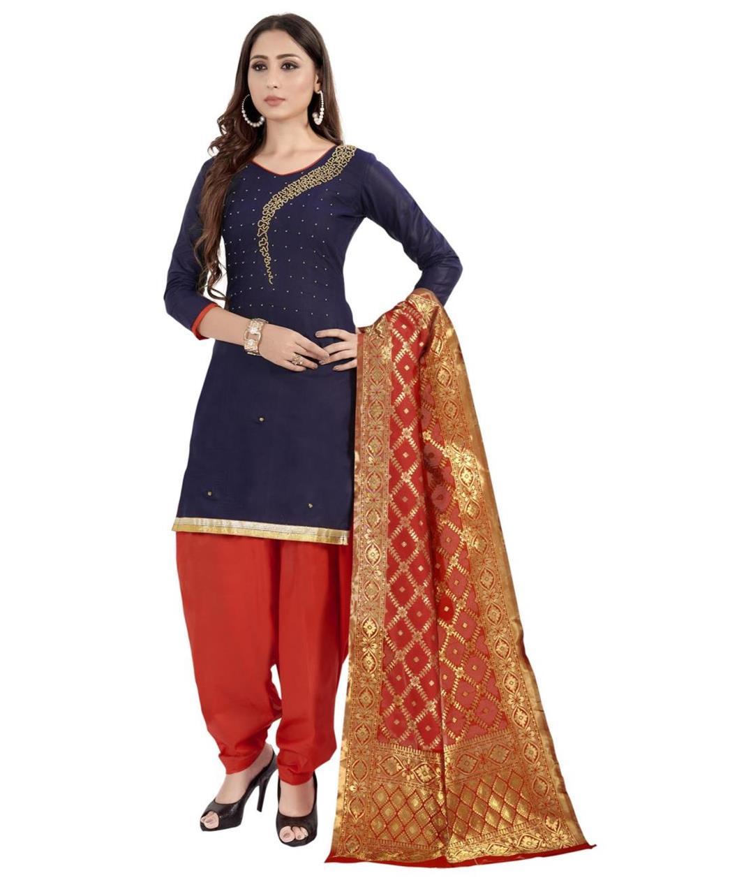 HandWorked Cotton Patiyala Suit Salwar in Navy Blue
