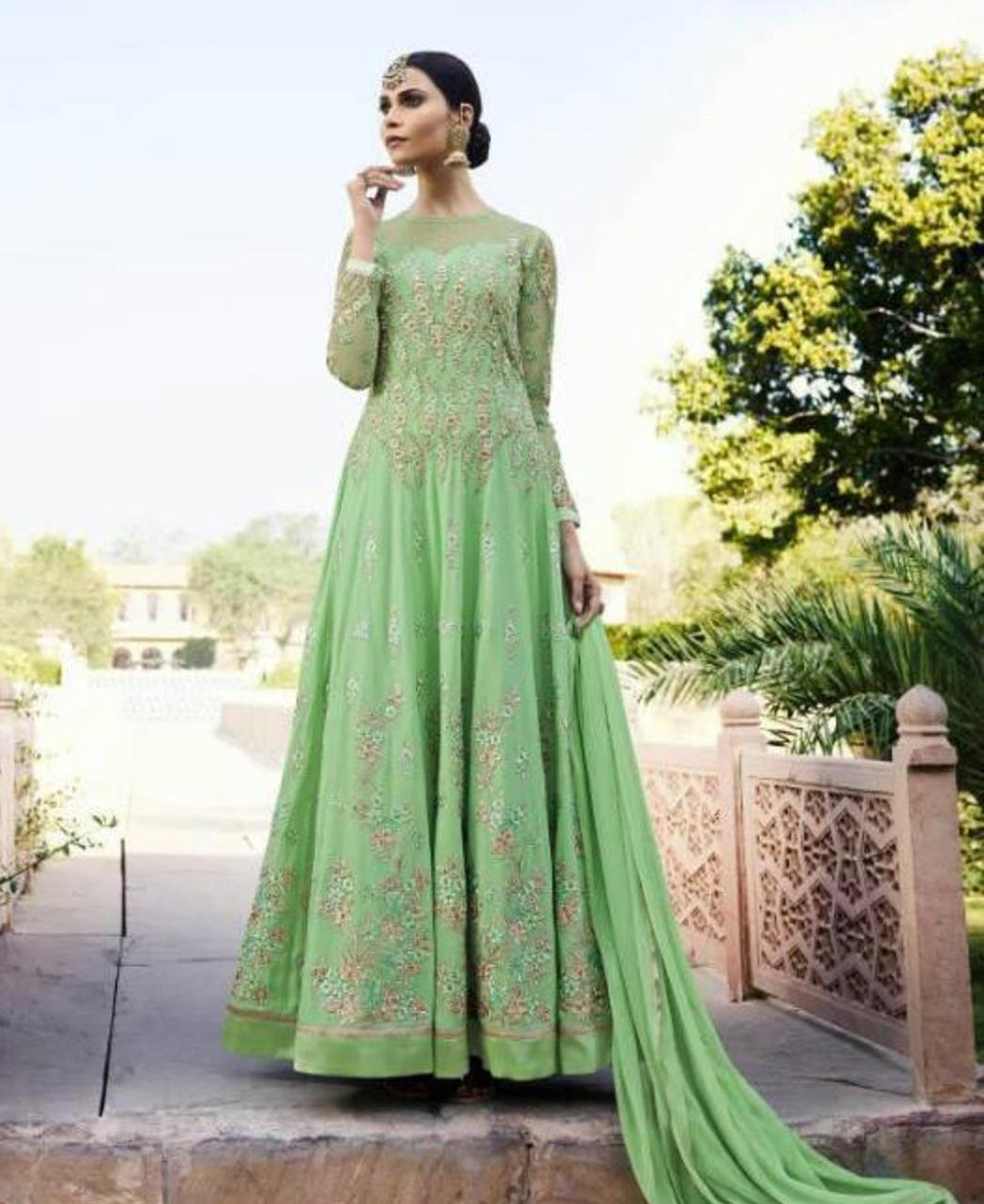 Embroidered Georgette Abaya Style Salwar in Light Green