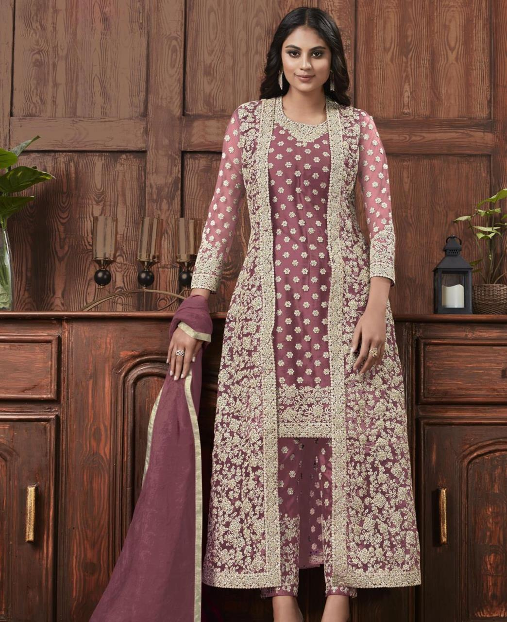 Satin Straight cut Salwar Kameez in Light Purple