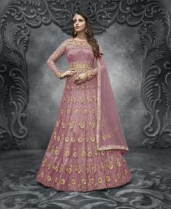 HandWorked Silk Abaya Style Salwar in Peach