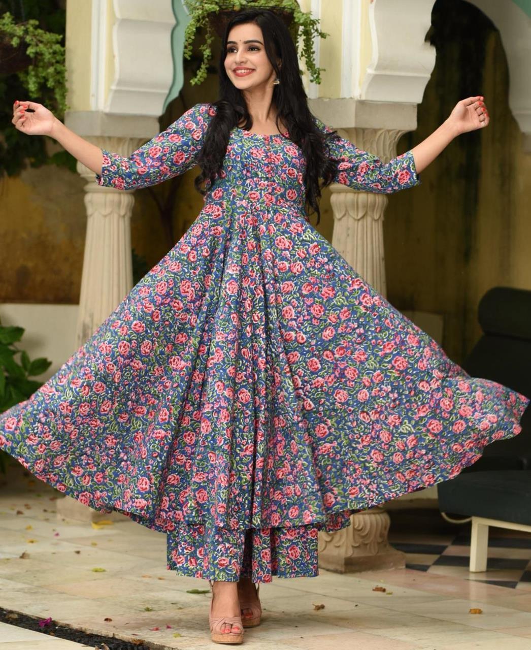 Printed Silk Blue Palazzo Suit Salwar