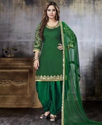 Jari Art Silk Green Patiyala Salwar Kameez