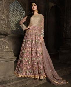 Net Abaya Style Salwar in Pink