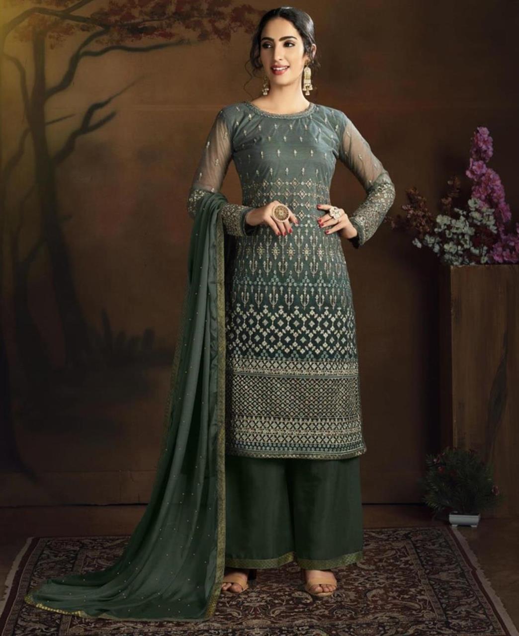 Stone Work Silk Straight cut Salwar Kameez in Dark Green