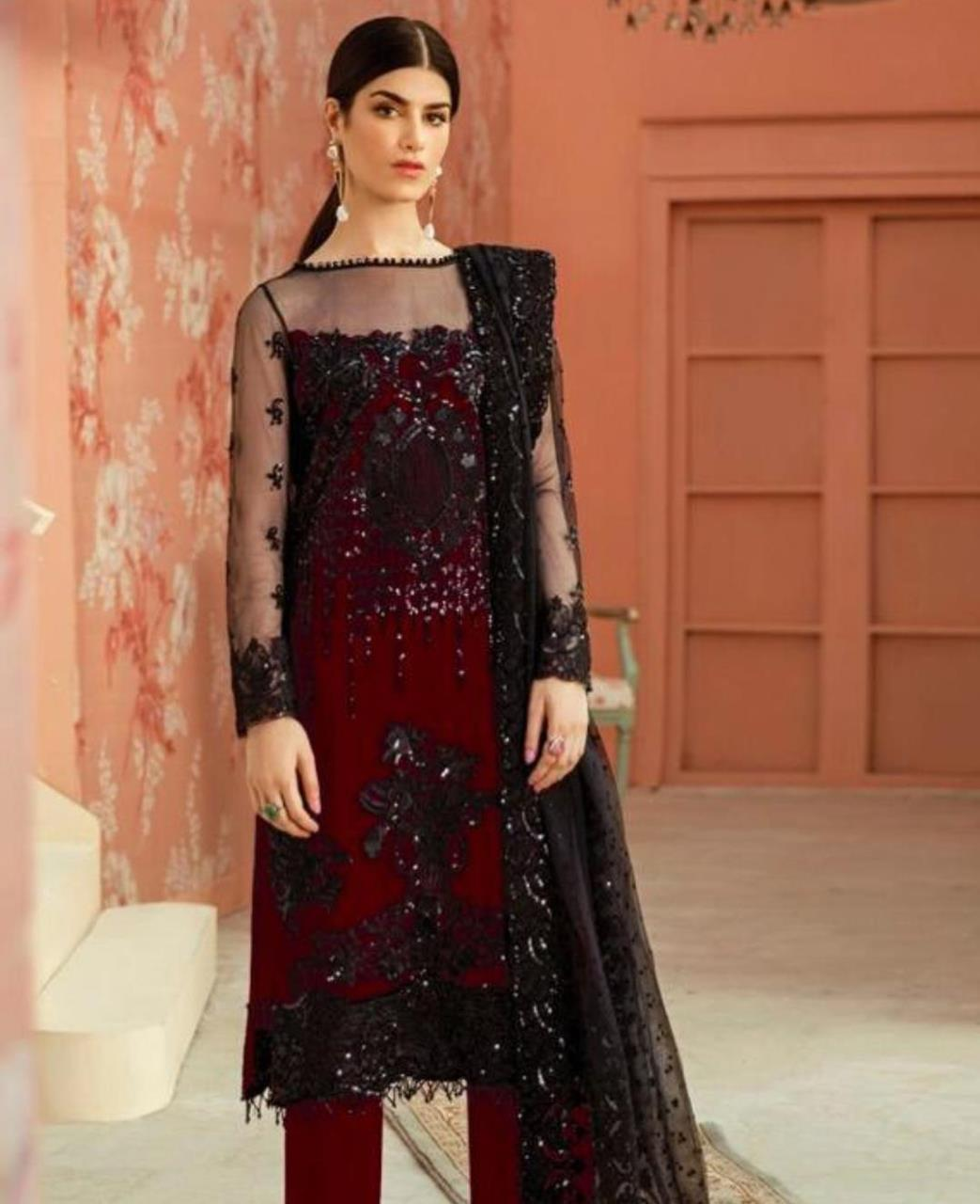 Thread Net Straight cut Salwar Kameez in Maroon  ,  Black