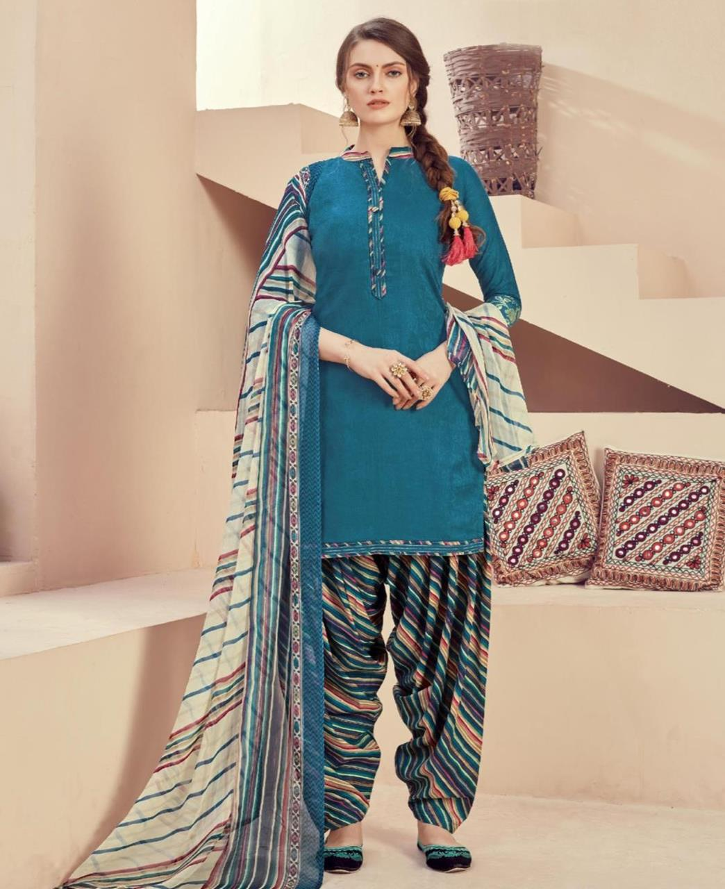 Printed Cotton Patiyala Suit Salwar in Teal Blue