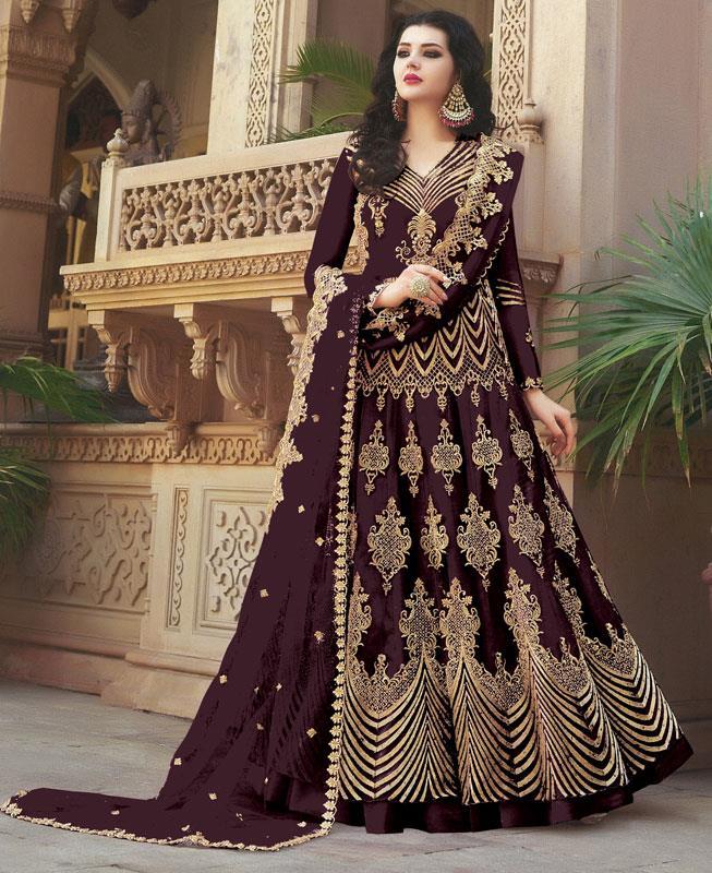 Embroidered Net Purple Anarkali Salwar