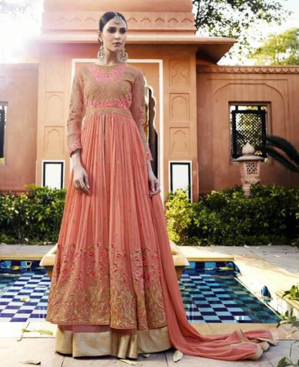 Embroidered Georgette Abaya Style Salwar in Orange