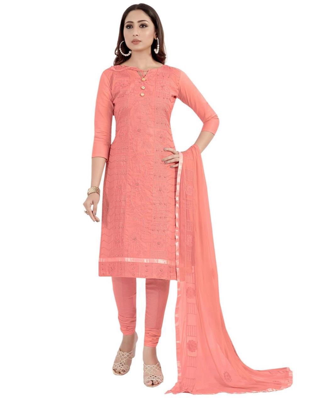 HandWorked Cotton Patiyala Suit Salwar in Pink