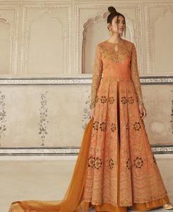 Stone Work Silk Abaya Style Salwar in Orange