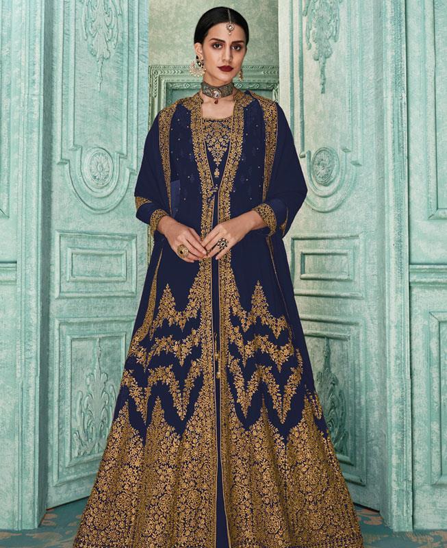 Zari Georgette Blue Abaya Style Salwar
