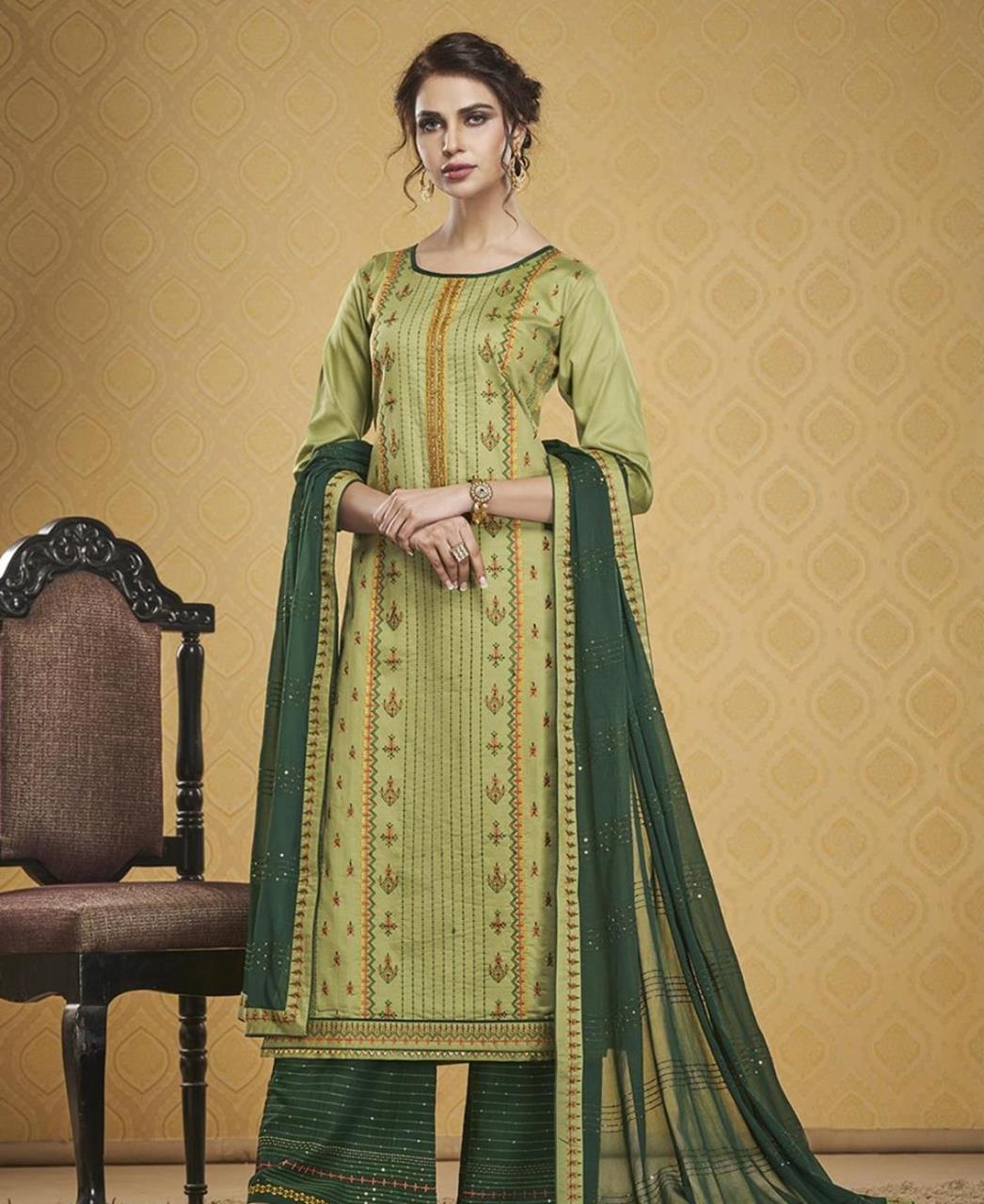 HandWorked Silk Straight cut Salwar Kameez in Light Green