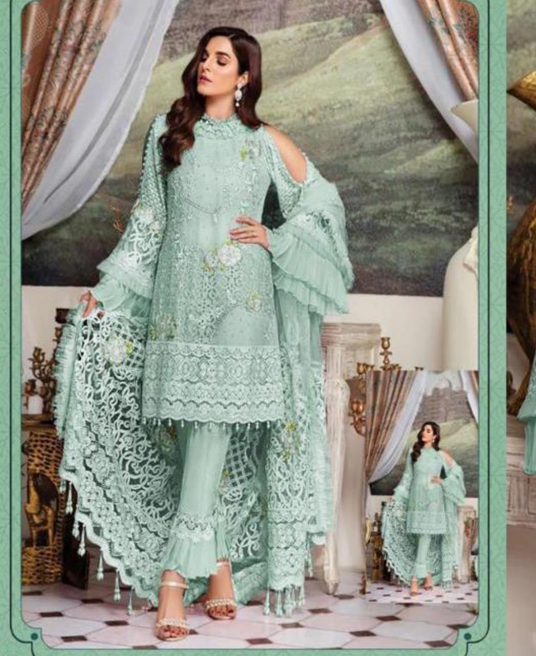 Embroidered Georgette Straight cut Salwar Kameez in Aqua