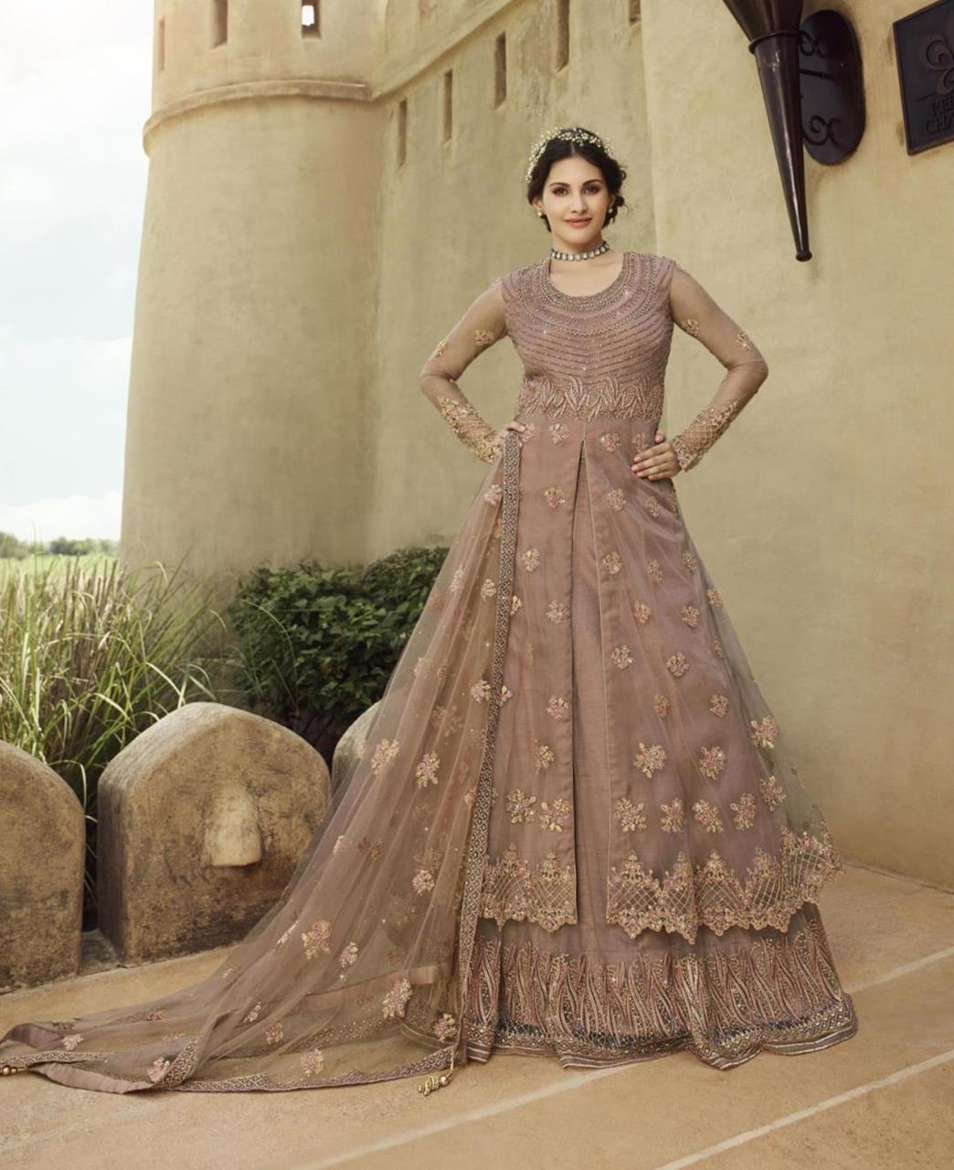 HandWorked Net Abaya Style Salwar in Light Maroon