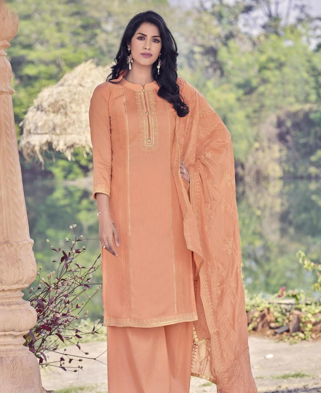 Zari Cotton Straight cut Salwar Kameez in Light Orange