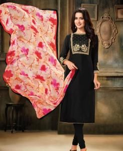 HandWorked Cotton Straight cut Salwar Kameez in Black