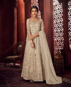 Thread Net Abaya Style Salwar in Yellow