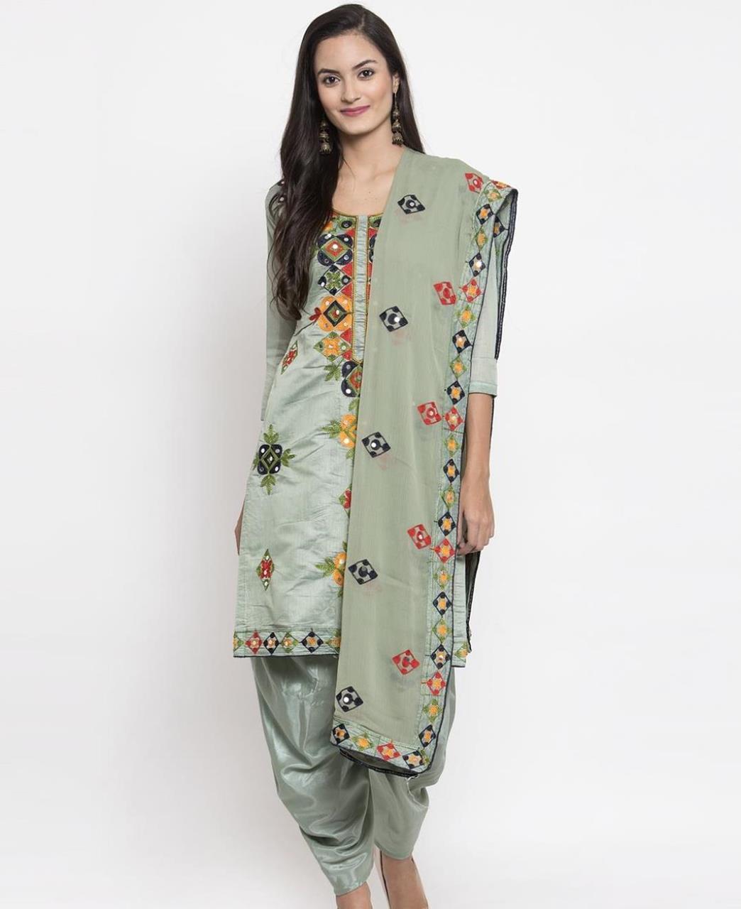 HandWorked Silk Patiyala Suit Salwar in Khakhi Green
