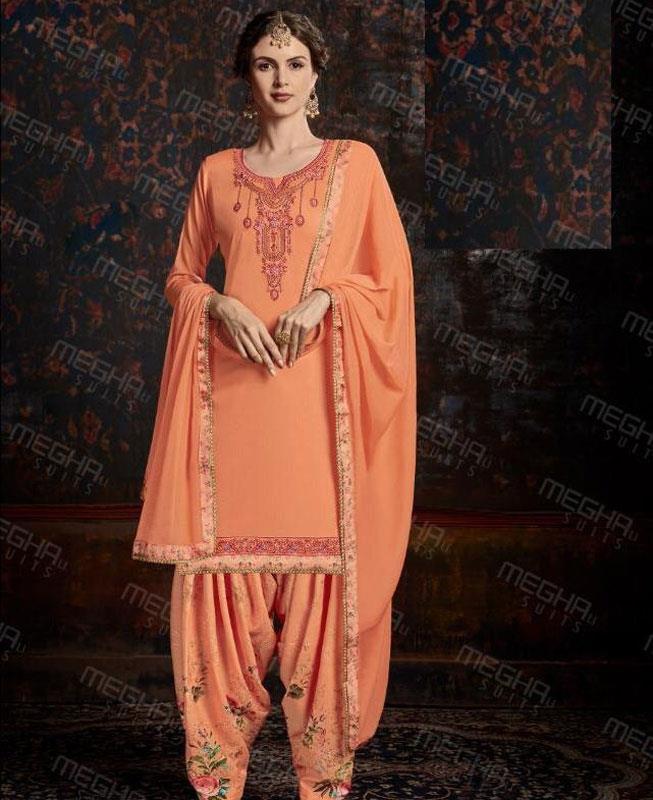 Printed Cotton Patiyala Suit Salwar in Orange