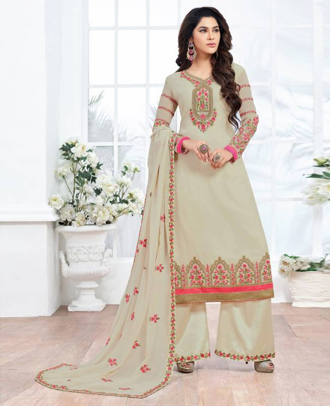 Embroidered Faux Georgette Beige Salwar Kameez Churidar
