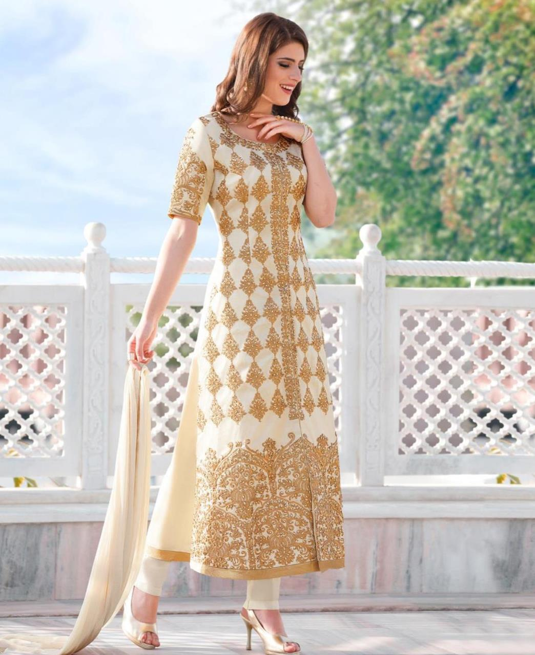 Embroidered Cotton Cream Straight Cut Salwar Kameez