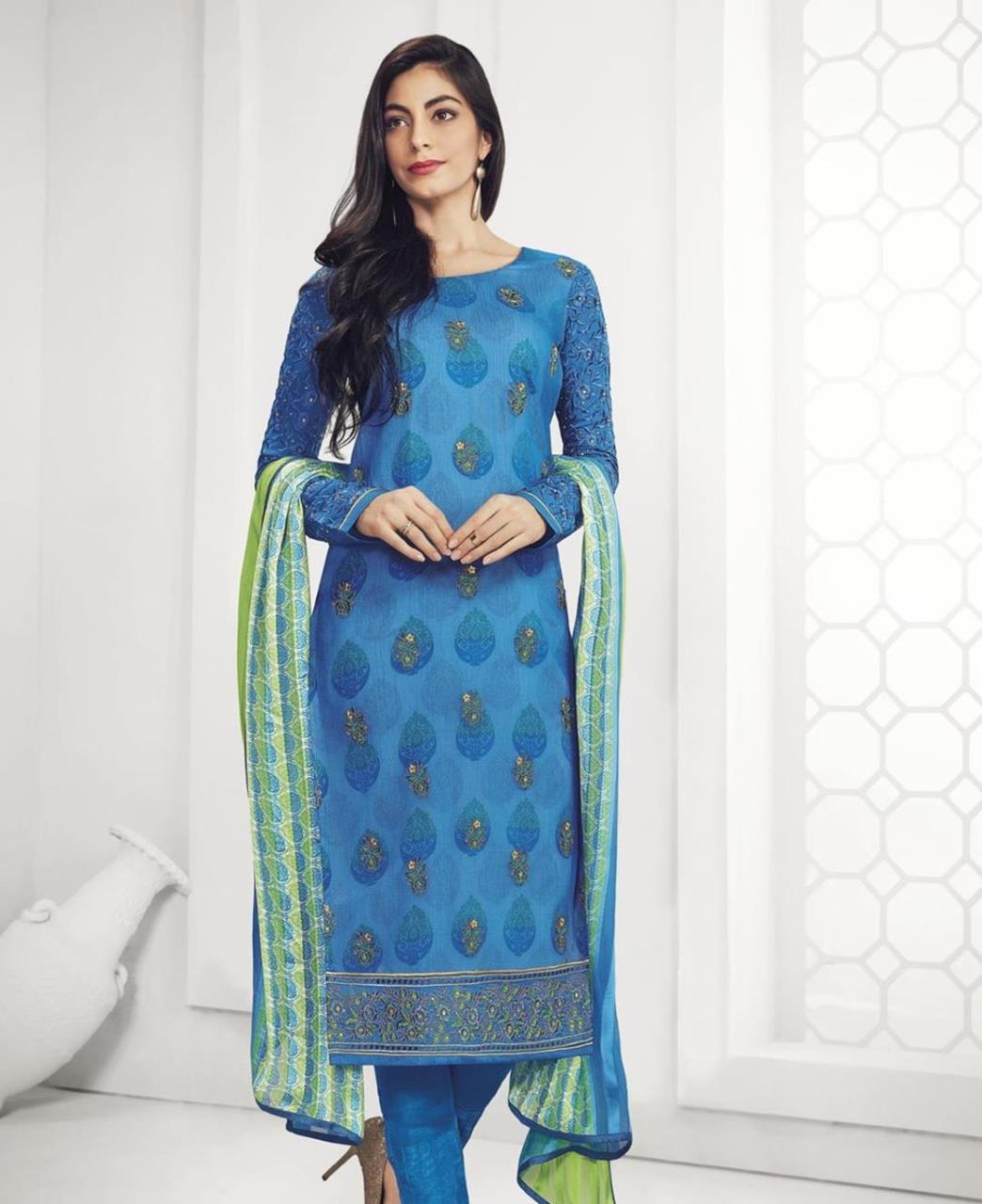 Stone Work Georgette Straight cut Salwar Kameez in Blue