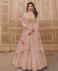 Stone Work Silk Abaya Style Salwar in Peach/Cream