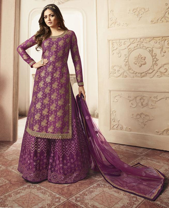 Embroidered Net Straight cut Salwar Kameez in Purple