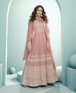 Thread Georgette Abaya Style Salwar in Peach