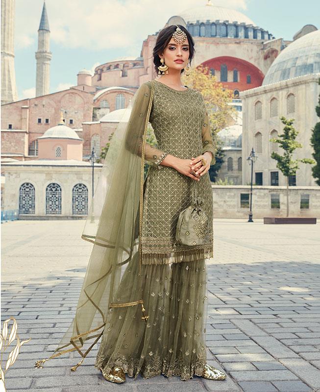 Thread & Zari Work on Net Abaya Style Salwar in Grey