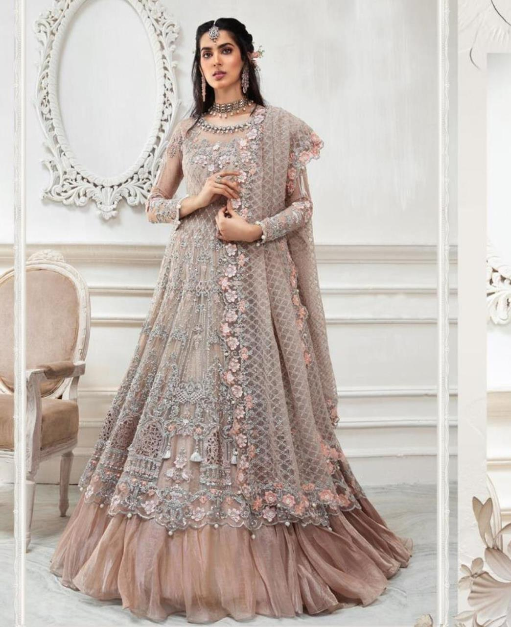 HandWorked Net Abaya Style Salwar in Light Brown