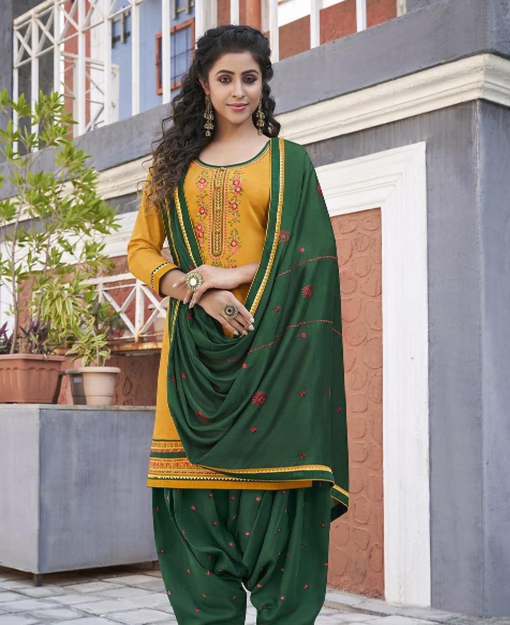 Zari Cotton Patiyala Suit Salwar in Yellow