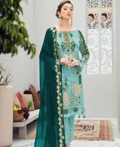 Stone Work Net Straight cut Salwar Kameez in Aqua Blue