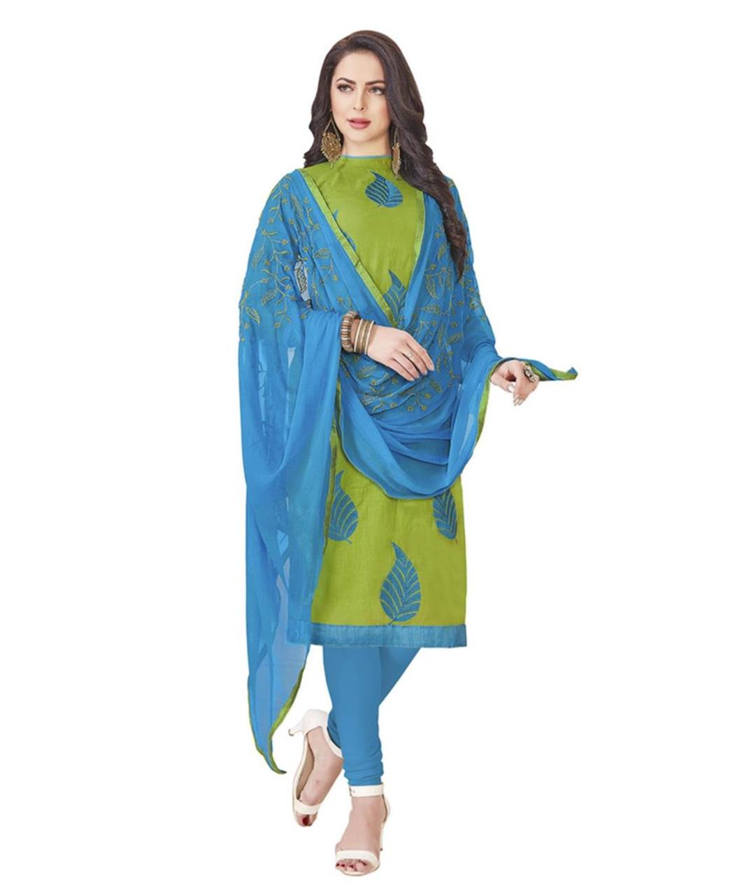 Embroidered Cotton Green Straight Cut Salwar