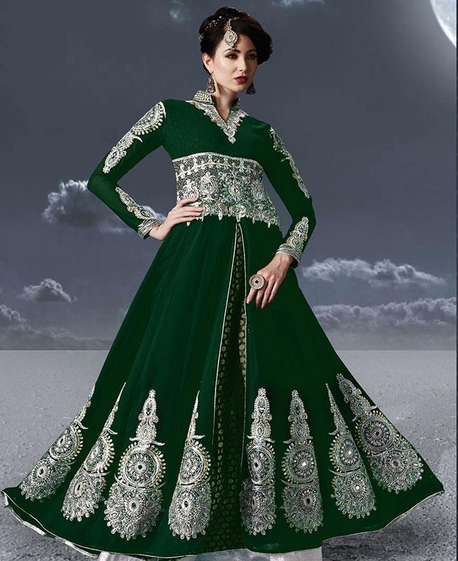 Embroidered Faux Georgette Green Abaya Style Salwar
