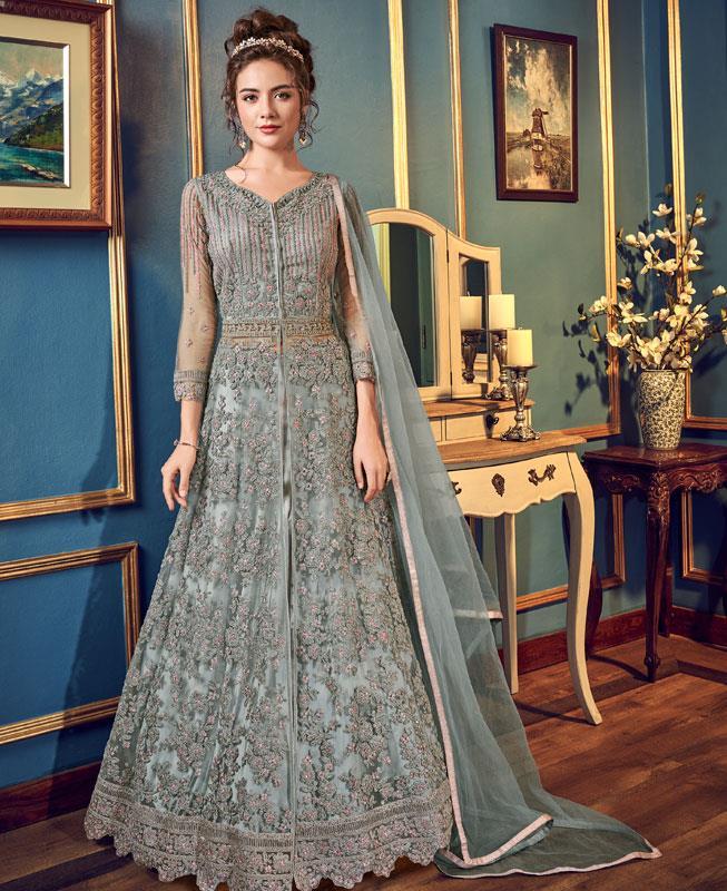 Embroidered Net Abaya Style Salwar in Grey