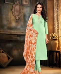 HandWorked Cotton Straight cut Salwar Kameez in Light Green