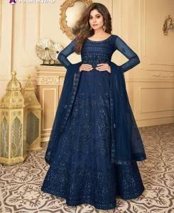 Silk Abaya Style Salwar in Blue